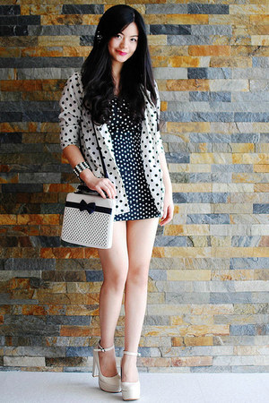 white blazer - off white shoes - dress - black bag - bracelet