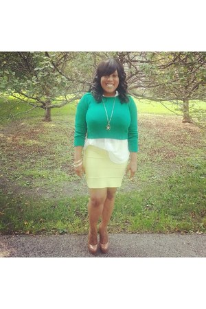 green sweater - white shirt - lime green BCBG skirt - gold bracelet