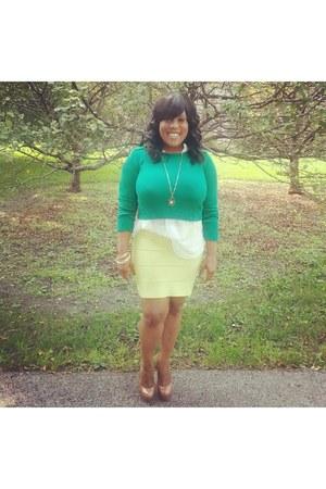 green sweater - white shirt - lime green BCBG skirt - gold bracelet