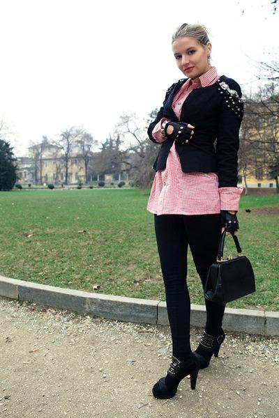 Zara blazer - Zara shoes - Gucci accessories - vintage shirt - piumelli gloves