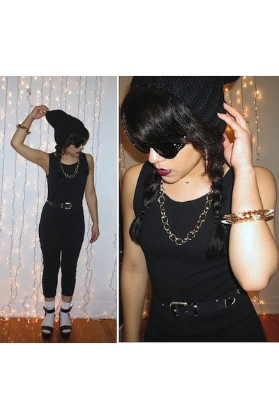 black beanie hat - black wedges - black one piece vintage bodysuit