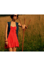 red Zara dress - crimson H&M sunglasses - navy vintage vest