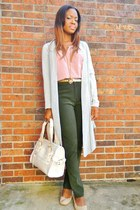 pink top - cream bag - aquamarine cardigan - neutral flats