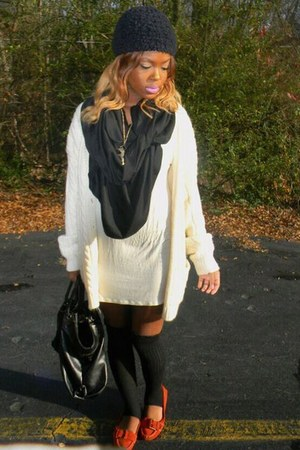 neutral cotton derek heart dress - black handmade scarf