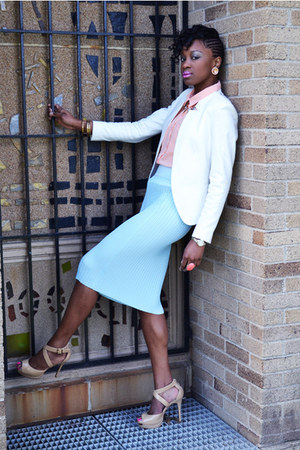 light blue H&amp;M skirt - tan Bebe shoes - white Zara blazer - peach H&amp;M blouse