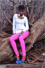 White-h-m-blouse-blue-jessica-simpson-heels-hot-pink-h-m-pants