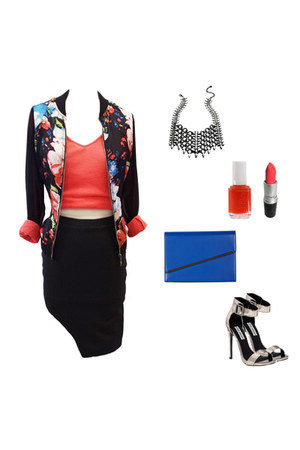 coral VeryJ top - black floral bomber VeryJ jacket - black VeryJ skirt