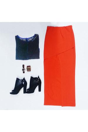 knee length very J skirt - sheer lace very J top