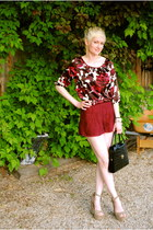 tan Steve Madden shoes - black vintage bag - ruby red lace Forever 21 shorts