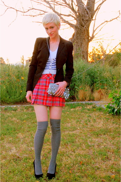red plaid abercrombie and fitch skirt - blue striped Forever 21 sweater