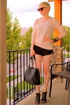 light pink f21 sweater - black Steven by Steve Madden shoes