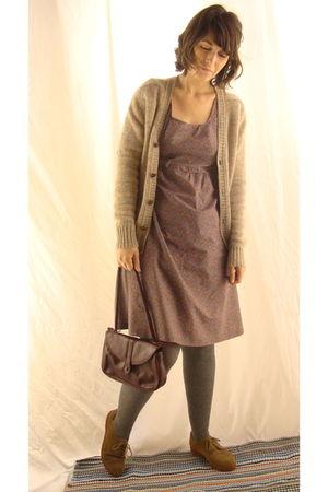purple dress - naturalizer purse - silver HUE tights - beige cardigan - beige Ba