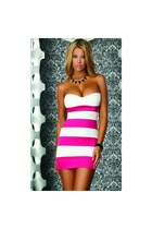 Gela Sexy Striped Pink Tube Dress with Sweetheart Neckline Club Wear