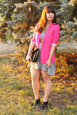 hot pink Zara blazer - white striped H&M dress