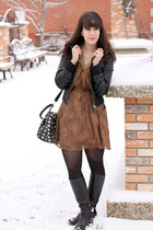light brown Forever 21 dress - black Sirens jacket