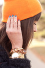 Black-fuzzy-oversized-darling-coat-carrot-orange-beanie-joe-fresh-hat