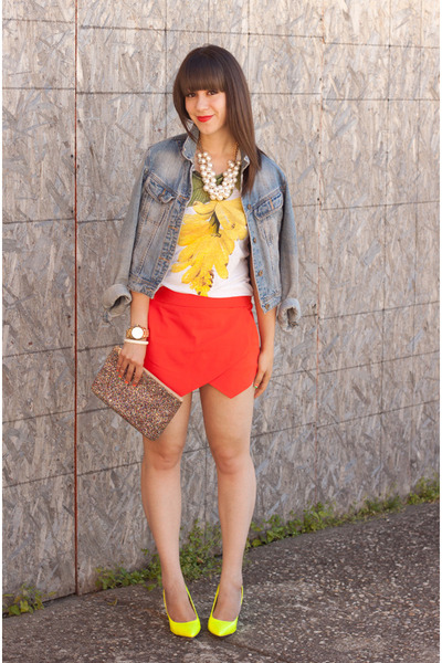 yellow neon Two Lips pumps - sky blue denim jacket H&M jacket