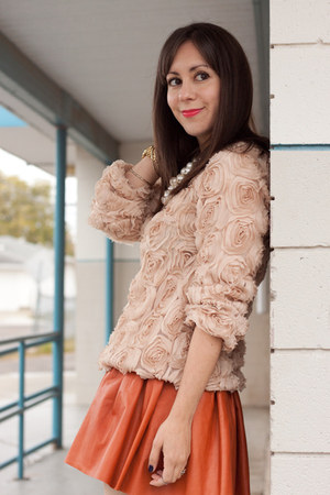 burnt orange leather Alice and Olivia skirt