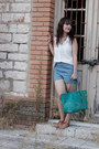 Turquoise-blue-michael-kors-bag-sky-blue-forever-21-shorts