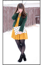 mustard H&M dress - black Michael Kors boots - dark green Zara blazer