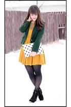 mustard H&M dress - black Michael Kors boots - dark green Zara blazer