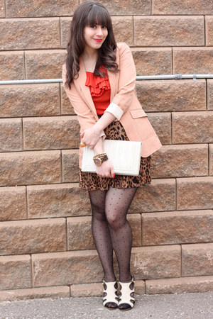 brown leopard print urban behavior skirt - peach H&M blazer