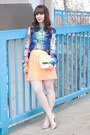 Blue-watercolor-forever-21-blouse-coral-neon-urban-outfitters-skirt