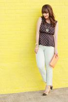 navy Forever 21 shirt - mint Zara jeans