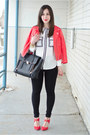 Red-leather-rebecca-minkoff-jacket-black-zara-leggings