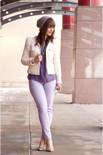 purple silk Forever 21 shirt - periwinkle Joe Fresh jeans