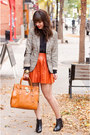 Tan-plaid-h-m-blazer-black-aldo-boots-polka-dots-hue-tights