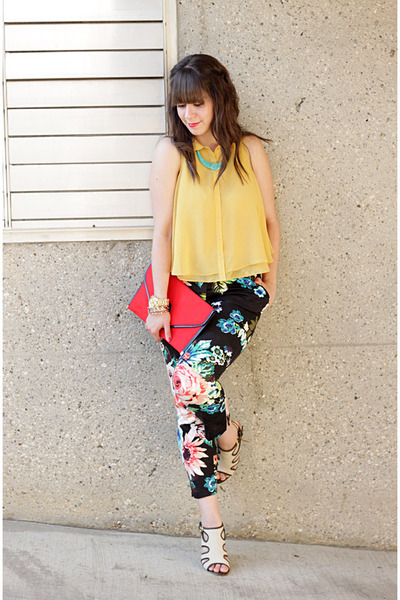 mustard Forever 21 blouse - red vintage bag - black H&M pants
