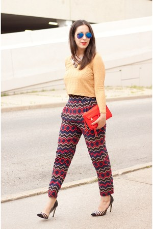 red mini mac Rebecca Minkoff bag - red tribal print Forever 21 pants