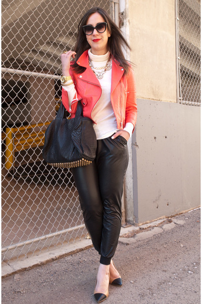red leather Rebecca Minkoff jacket - white turtleneck JCrew sweater