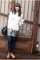silver Forever 21 skirt - camel Forever 21 boots - heather gray Zara hat