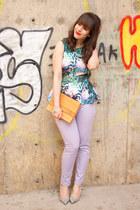 periwinkle Joe Fresh jeans - camel saint laurent vintage bag - peplum H&M top