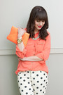 White-polka-dots-forever-21-jeans-light-orange-clutch-jcrew-bag