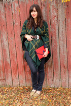 forest green Urban Outfitters cape - red vintage bag - dark brown Diesel belt