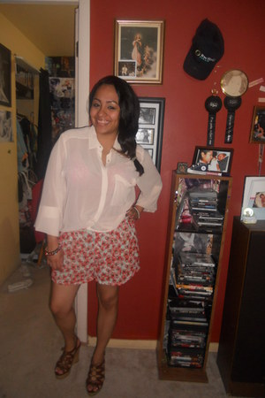 H&M shorts - H&M blouse - Guess wedges