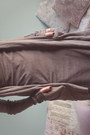 Tan-allsaints-dress-heather-gray-allsaints-cardigan-black-allsaints-leggings