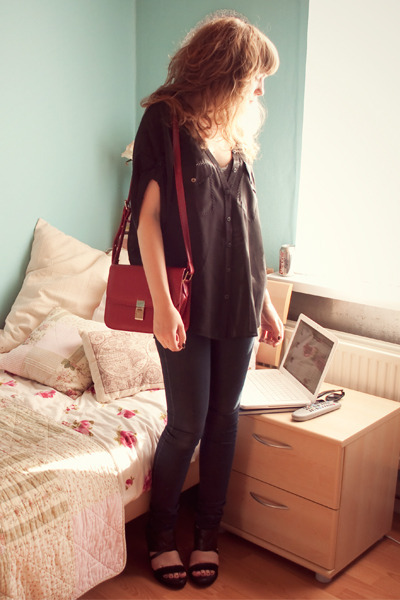 black silk allsaints shirt - ruby red bag - black allsaints wedges