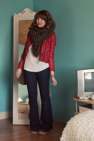 red leather Zara jacket - black Converse shoes - blue flared Forever 21 jeans