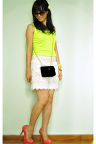 white crochet shorts - black vintage sling bag - yellow neon tank giordano top