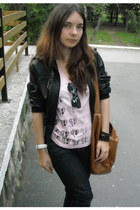 leather vintage jacket - House of art shirt - Terranova bag - Ray Ban sunglasses