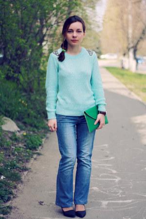 turquoise blue Fashion Union sweater - dark green wholesale-dressnet bag