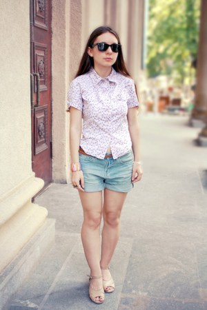 deep purple vintage shirt - sky blue denim romwe shorts