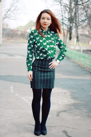 green Choies shirt - black Choies heels - teal Kenzo skirt