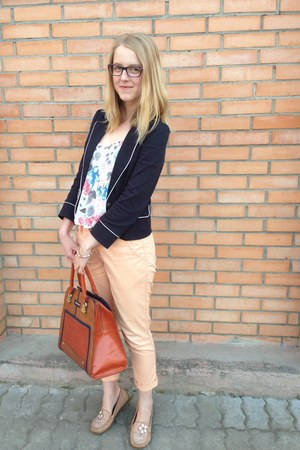 navy Incity jacket - burnt orange River Island bag - cream H&M top