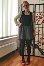 black Accessorize tights - black kira plastinina skirt - nude Topshop cardigan