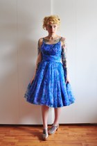 blue vintage dress - silver braided Swedish Hasbeens clogs